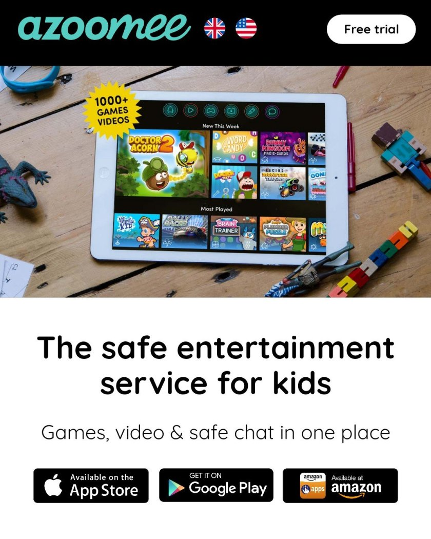 An image of Azoomee saying the safe entertainment for kids. App logos. Photo of a tablet on a wooden floor with a few toys around. Azoomee app is open on the screen.