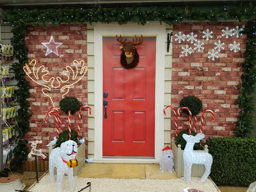 Notcutts, St Albans, Christmas door display