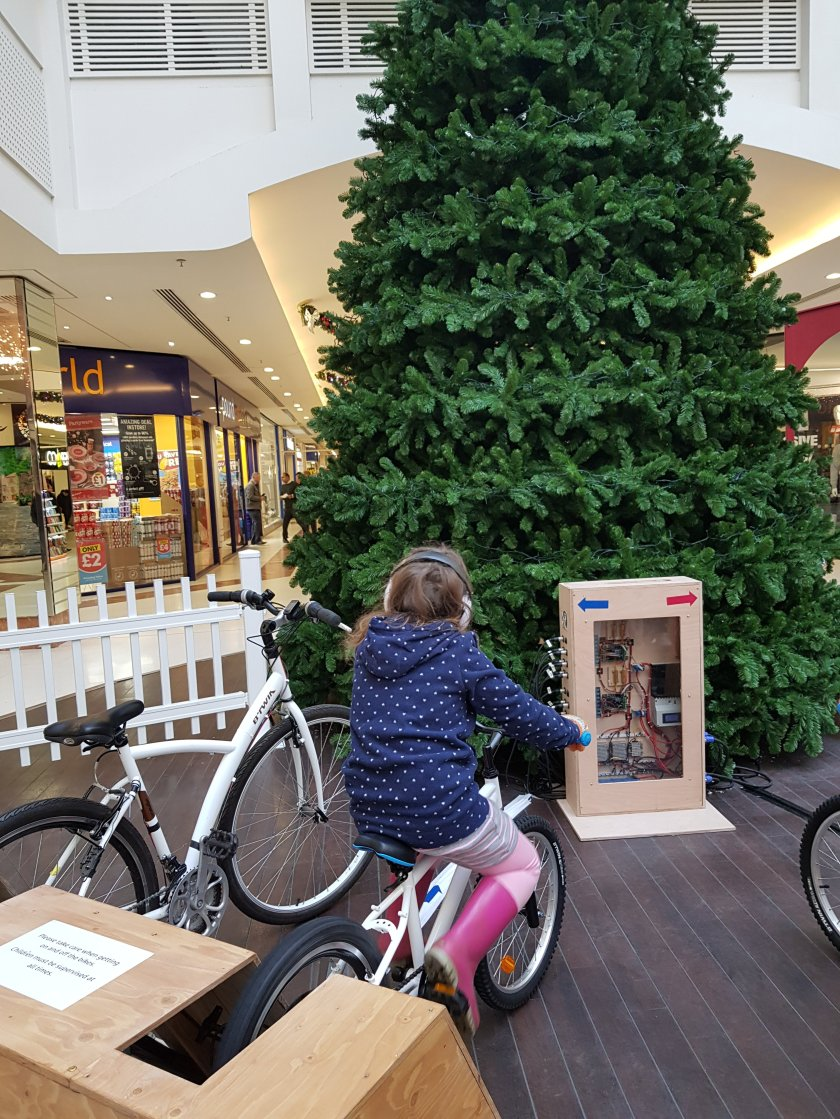 Squiggle cycling to light up clean energy Christmas tree The Marlows, Hemel Hempstead