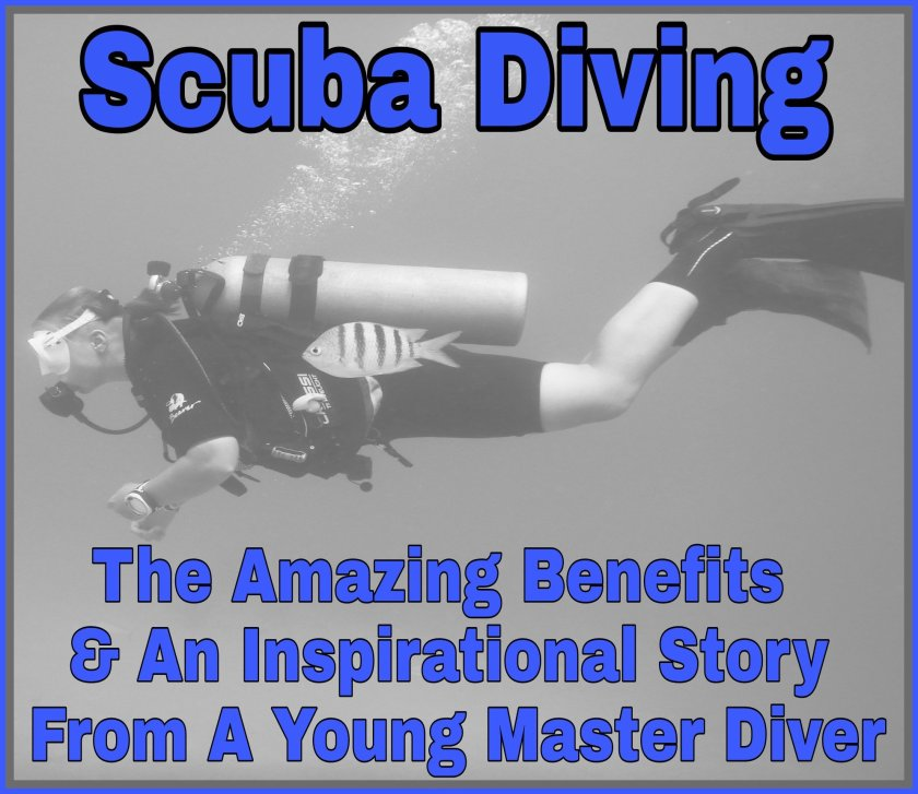 Black and white photo of grace scuba diving with title 'Scuba Diving: The Amazing Benefits & An Inspirational Story From A Young Master Diver'.