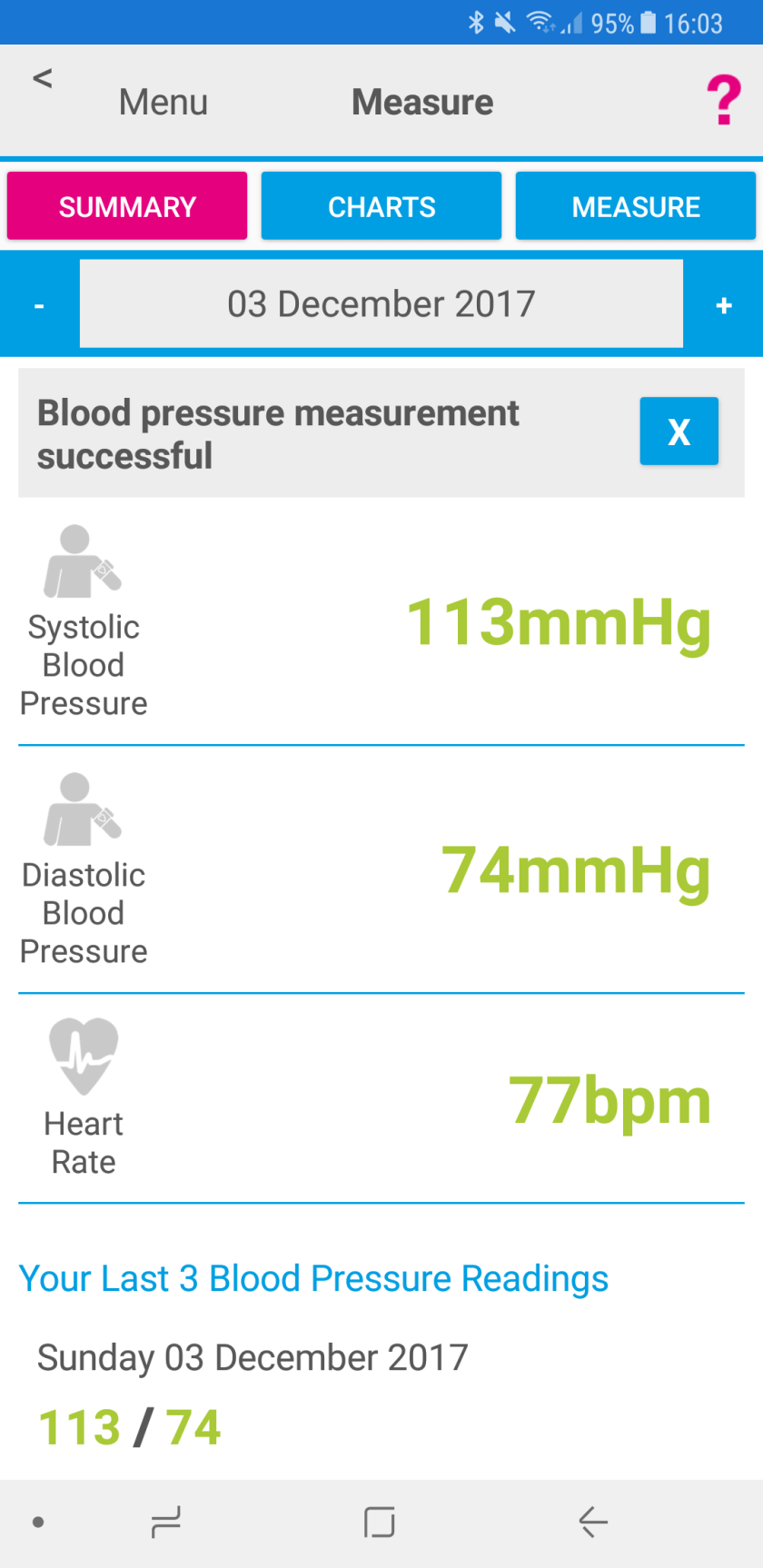 Screenshot of Activ8rlives app showing blood pressure and heart rate results.