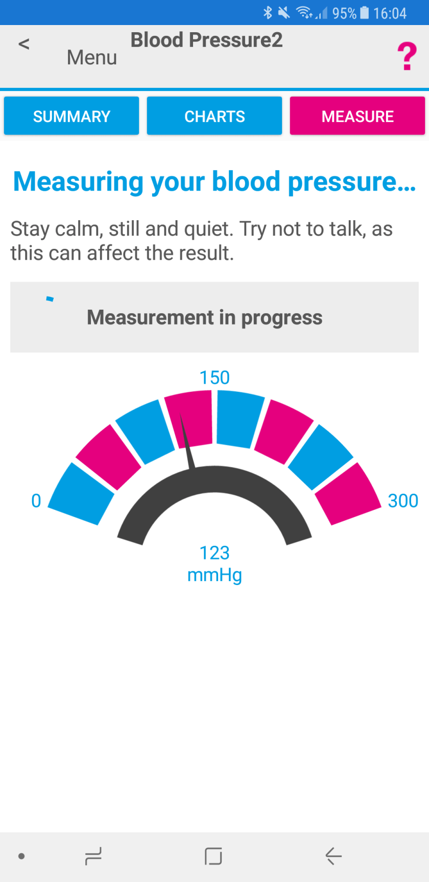 Screenshot of Activ8rlives app during blood pressure monitoring.