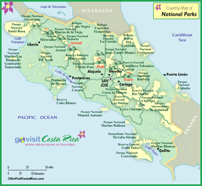 Costa Rica National Parks map