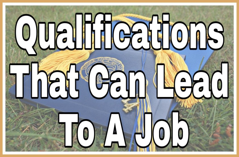 Qualifications That Can Lead To A Job title on faded background image of graduation robes.