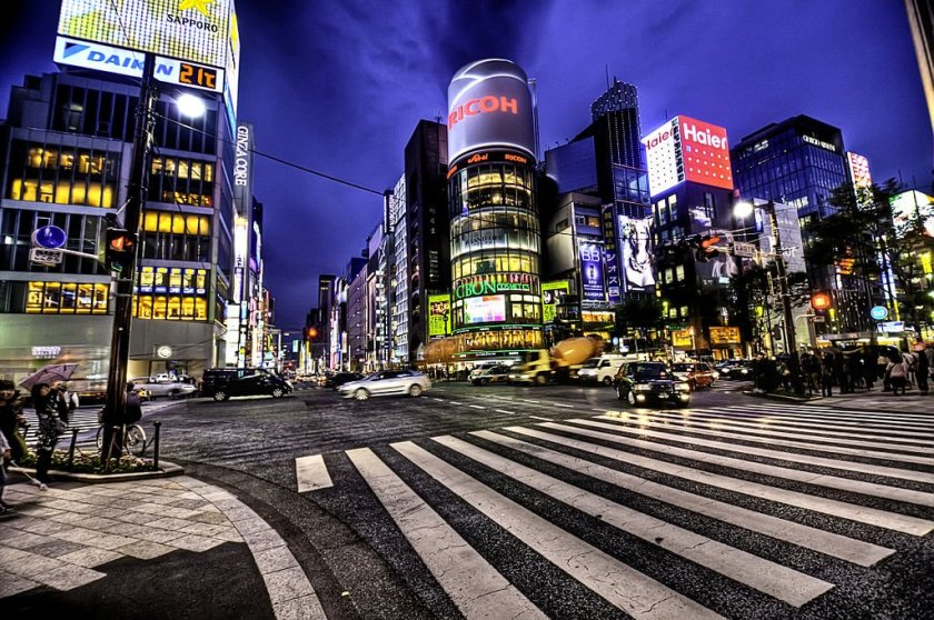 A photo of Ginza at night