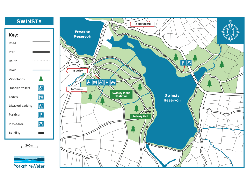 Map of Swinsty Reservoir route and facilities