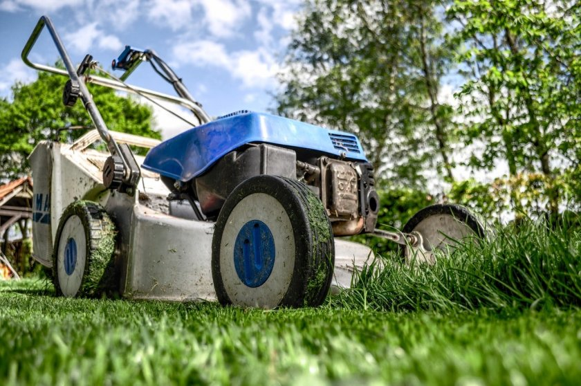 Close up image of a lawn mower
