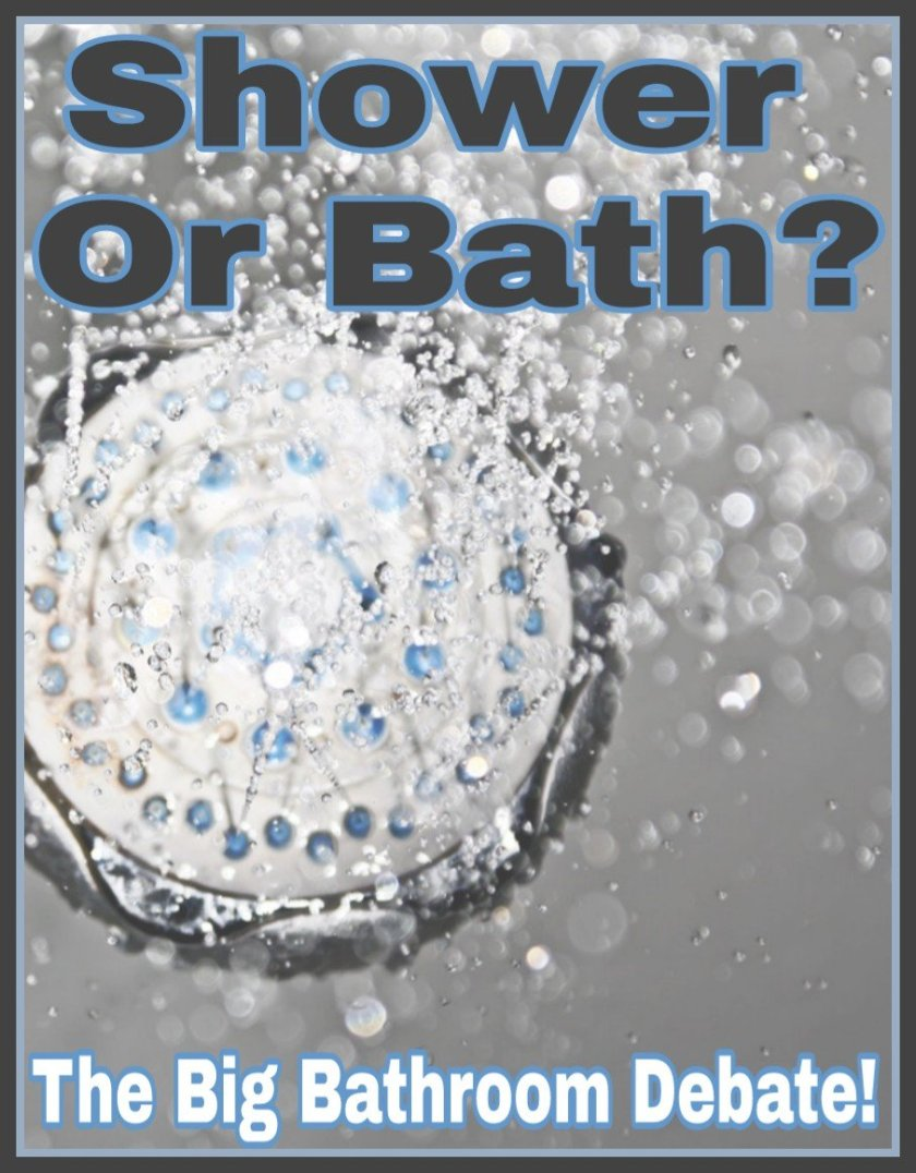 Shower Or Bath? The Big Bathroom Debate! title on faded water background image