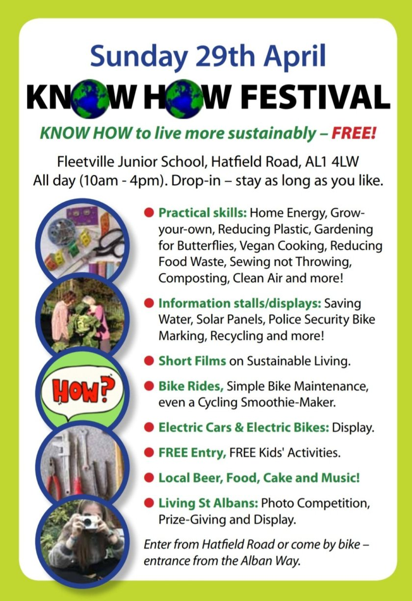Know How festival flyer - part of Sustainable St Albans Week 2018