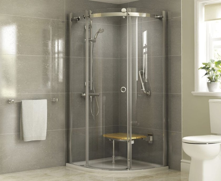 A shower cubicle with seat