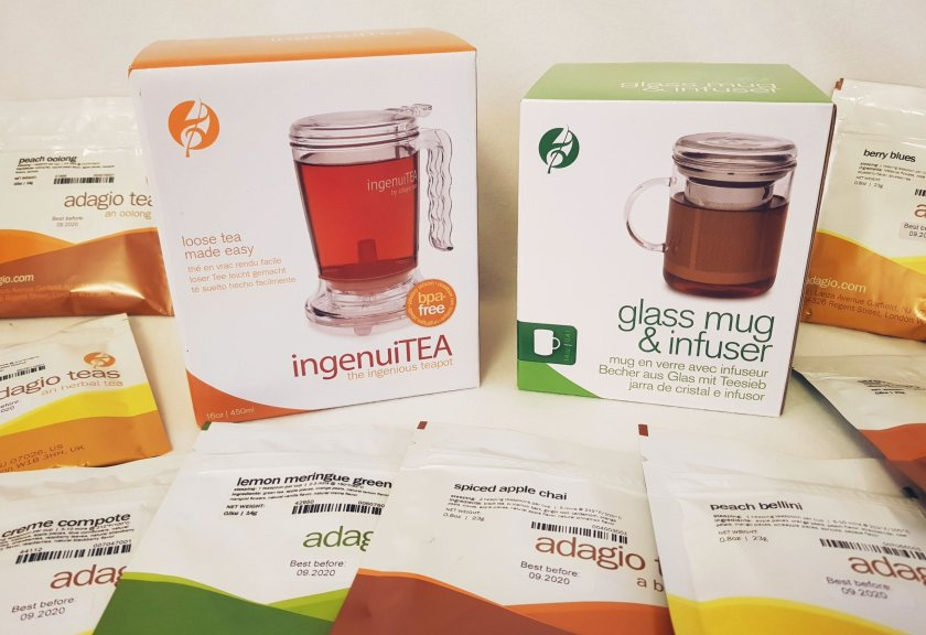 Adagio Teas Prize - ingenuitea, glass mug and infuser, tea samplea