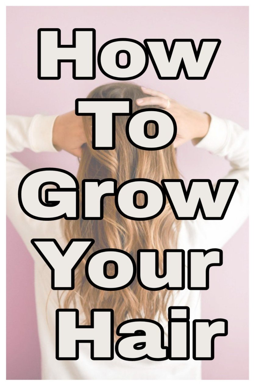 How to grow your hair title with faded background image of a woman with long healthy hair