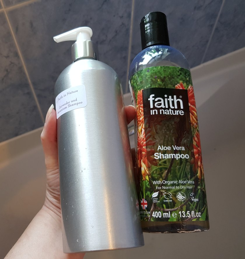 Plastic bottle of shampoo switched for zero waste refillable reusable dispenser
