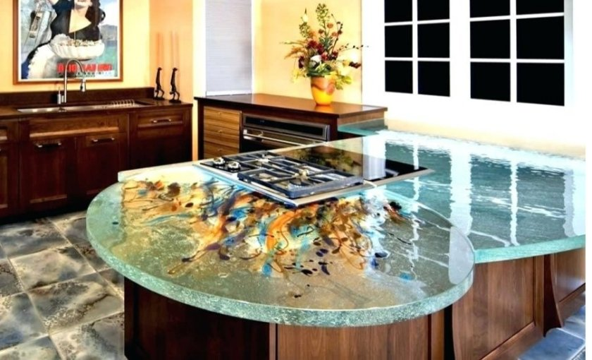 Recycled glass table