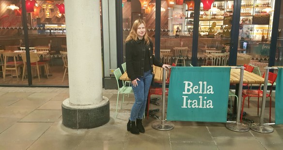 Katie - Living Life Our Way - outside Bella Italia