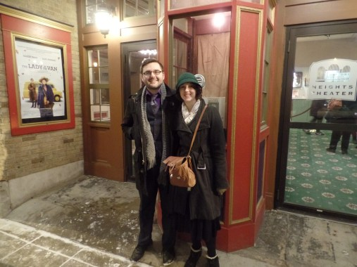 I wrangled a pair of strangers to take our picture outside the ticket booth and the result was miraculously not blurry.