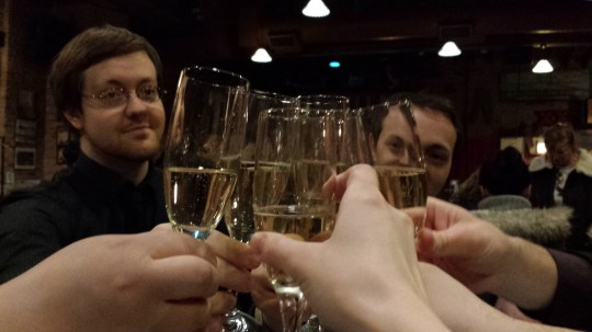 In the evening, we went to a speakeasy and kicked off our night with champagne.