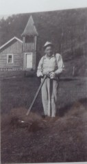 Bill Frink in 1948, mowing the lawn.