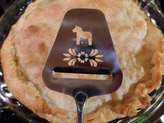 I used my Swedish cheese knife to cut the pie because GG Olsen is Swedish and I don't have a pie server.