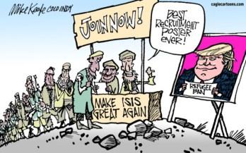 Political cartoon on travel ban executive order, 2017