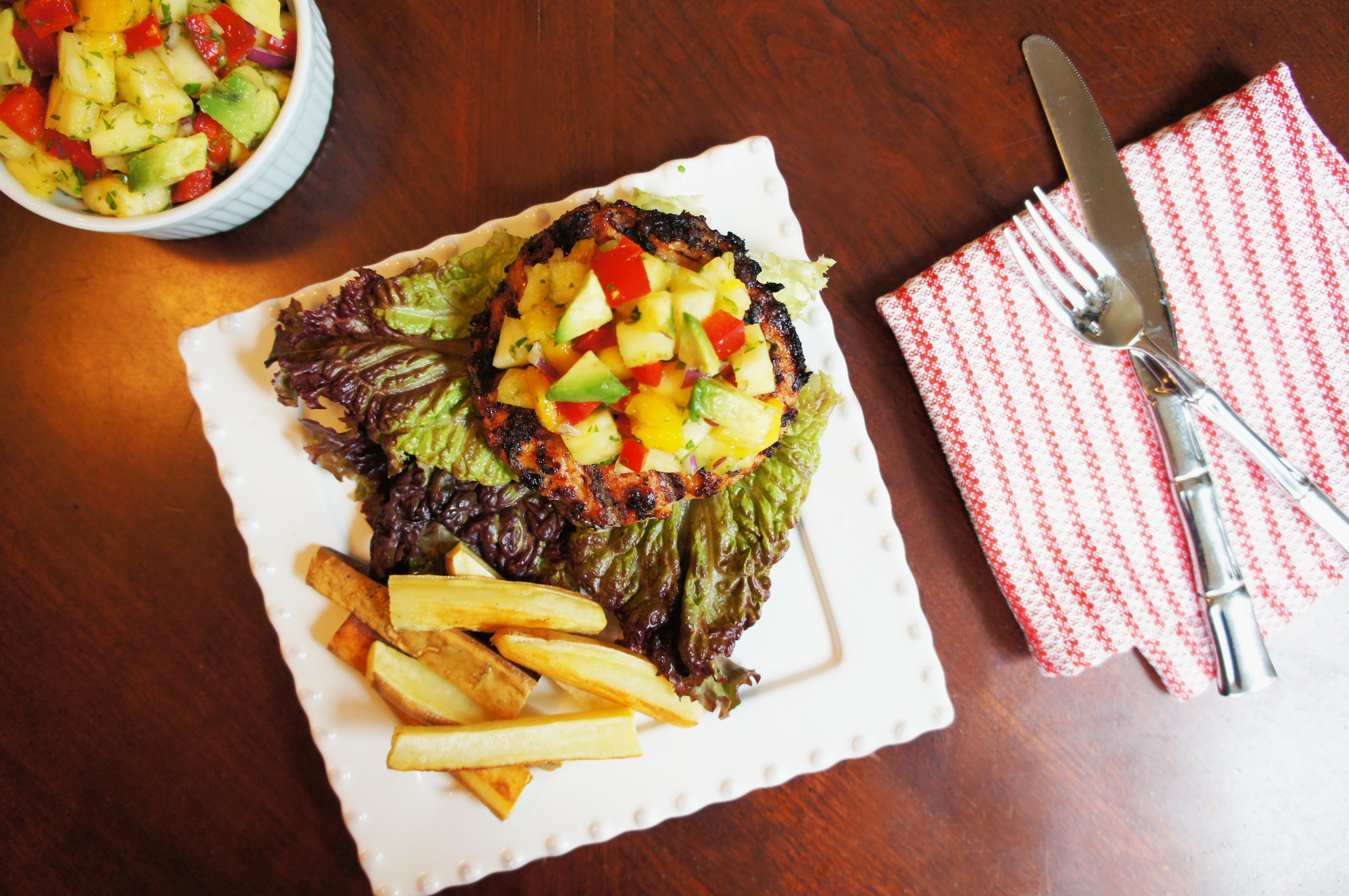 Teriyaki Burgers With Pineapple, Mango & Avocado Salsa