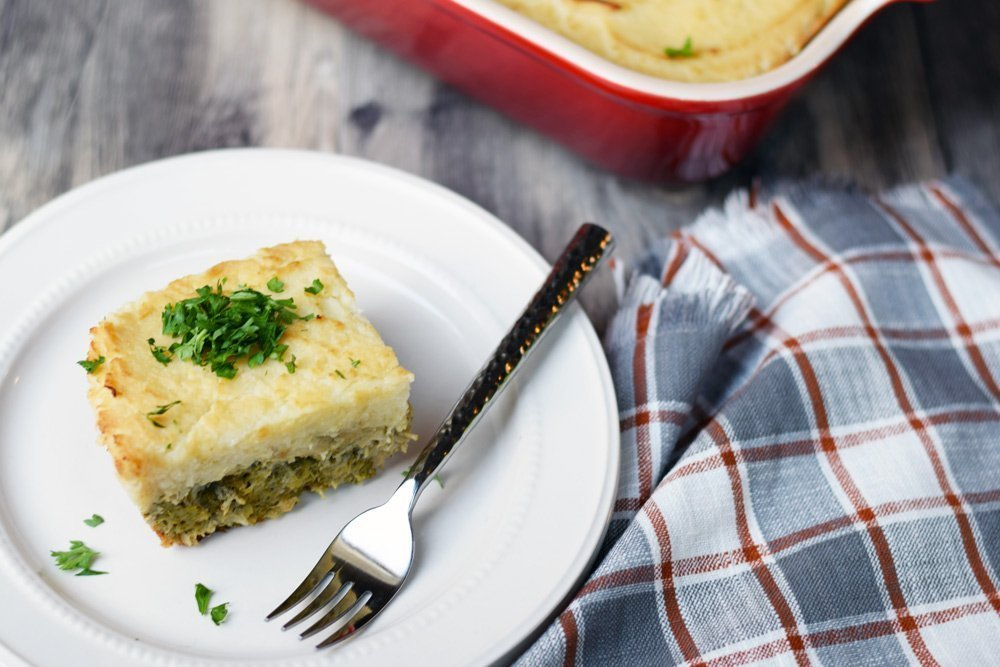 Turkey, Broccoli & Mashed Cauliflower Layered Casserole