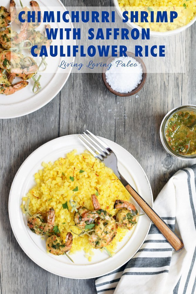 Chimichurri Shrimp With Saffron Cauliflower Rice