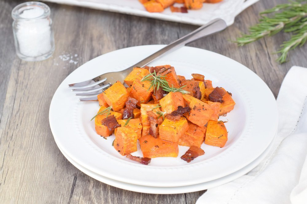 Bacon & Rosemary Roasted Sweet Potatoes