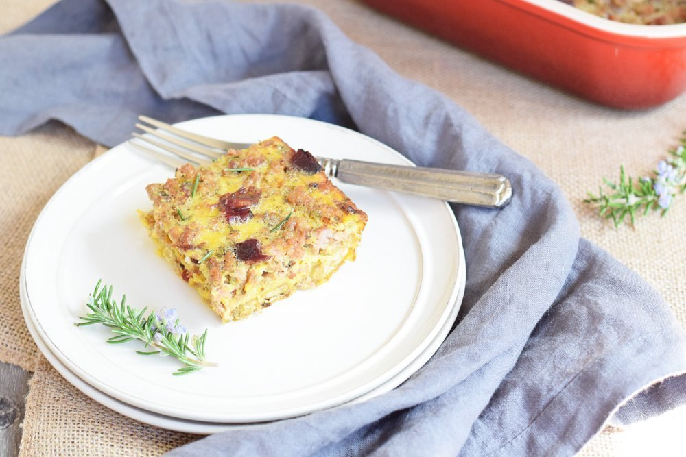 Maple Sausage, Bacon & Plantain Crust Breakfast Casserole