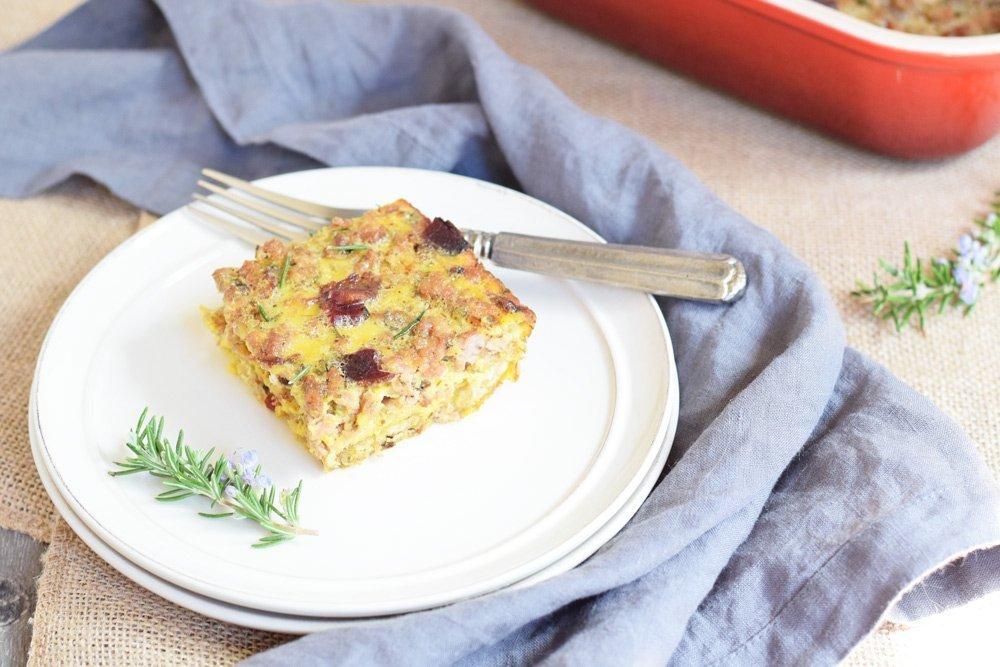 Maple Sausage, Bacon & Plantain Crust Breakfast Casserole