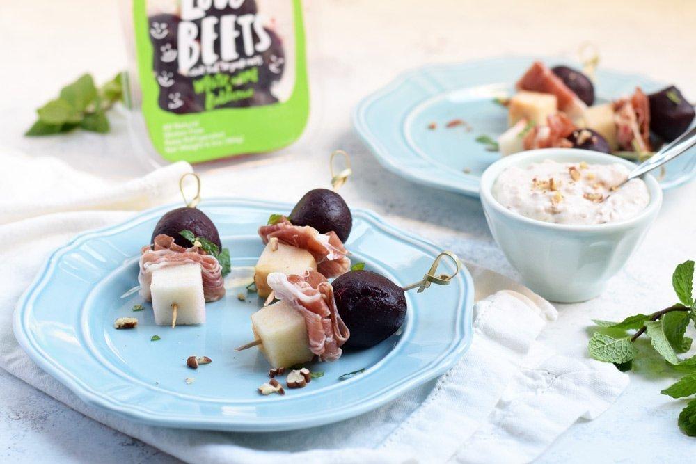 Beet, Pear & Prosciutto Bites With Creamy Maple Pecan Sauce