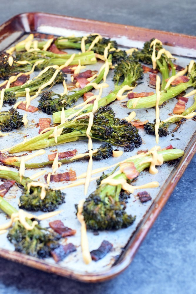 "Roasted Bacon Broccolini with ""Cheese"" Sauce (Paleo + Dairy-free!)"