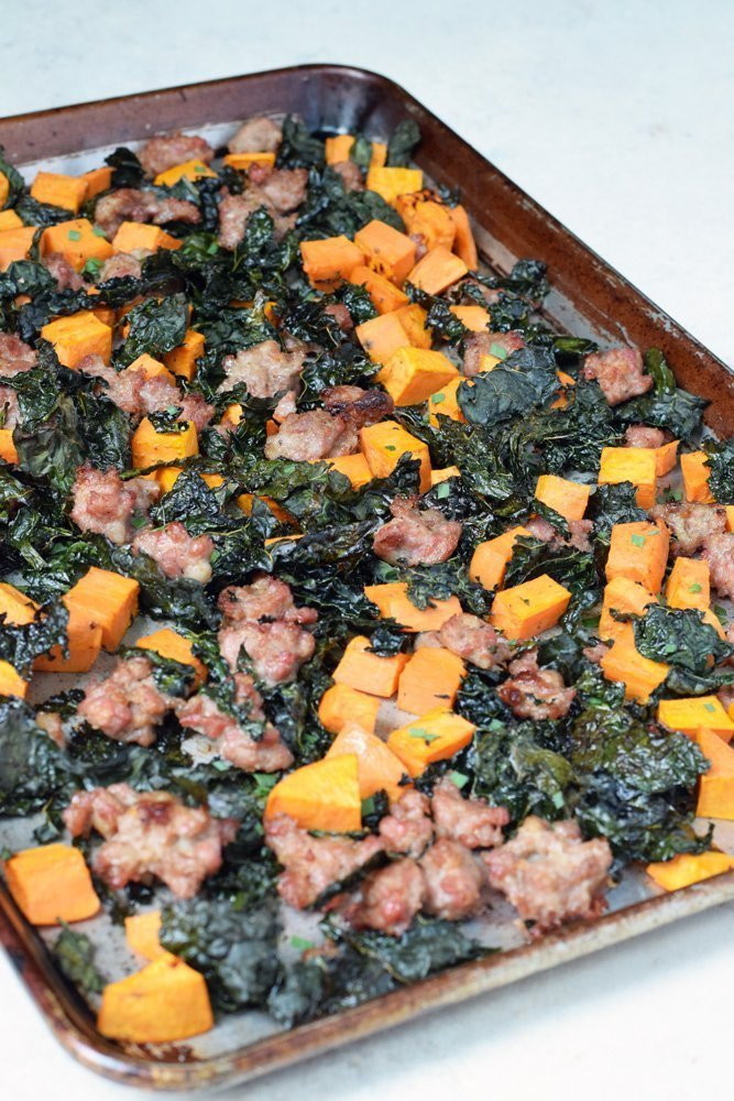 Sausage, Sweet Potato & Kale Bake