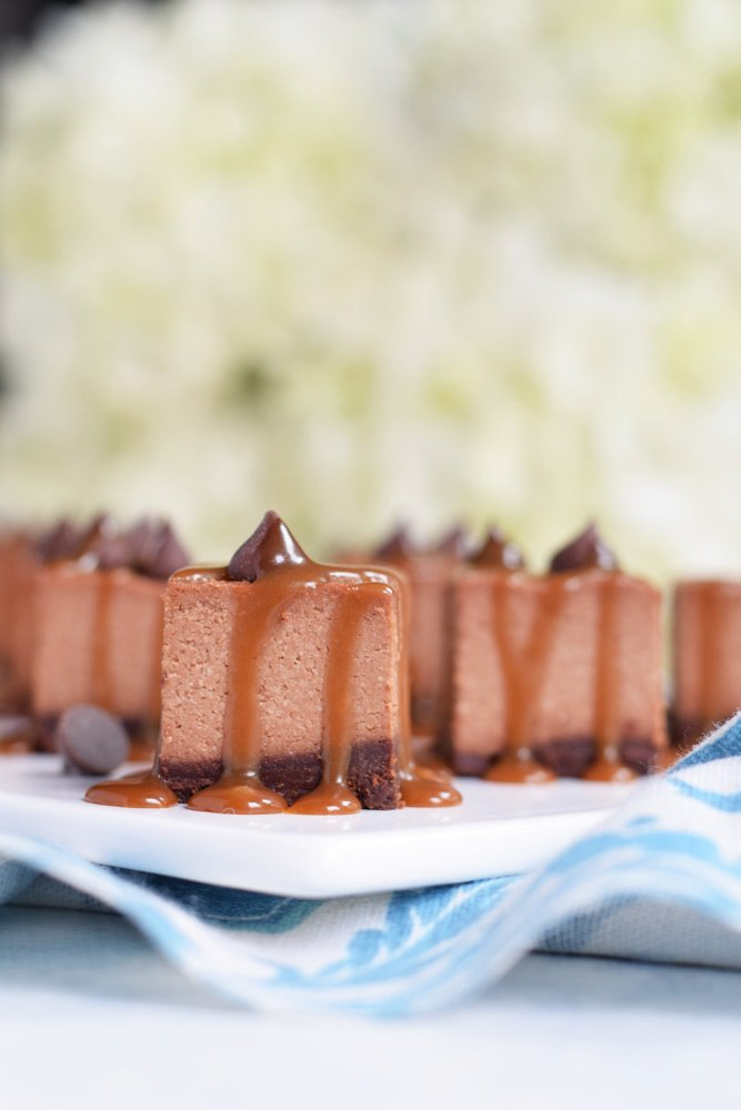 Dairy-free Double Chocolate Caramel Cheesecake Bars