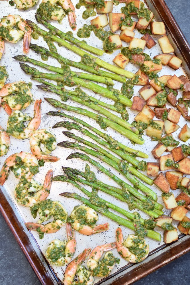 Chimichurri Shrimp, Asparagus & Potato Sheet Pan Meal