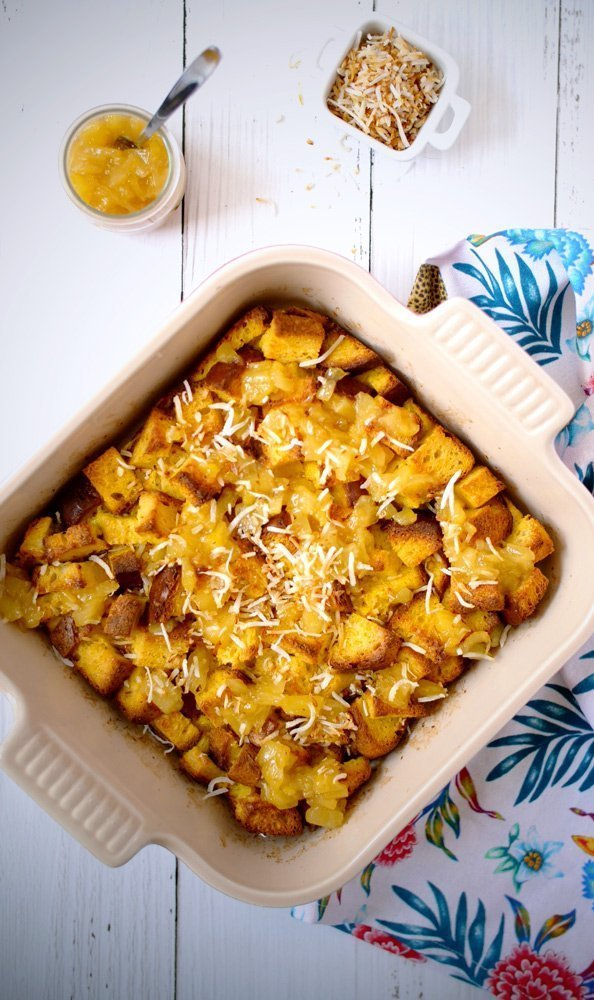 Hawaiian Sweet Bread French Toast Casserole With Pineapple Sauce (Gluten-free)