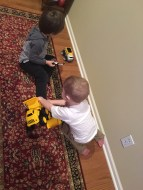 Playing with their new trucks!