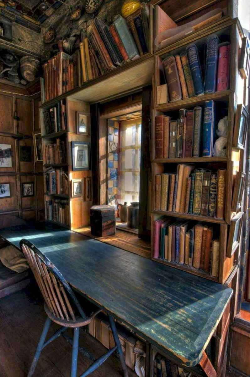 40+ stunning home libraries with rustic design (11)