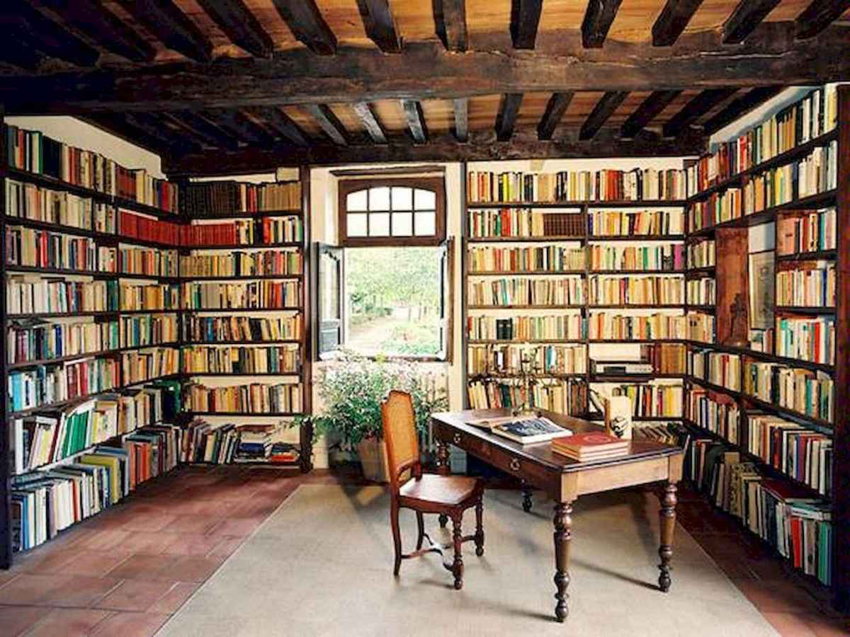 40+ stunning home libraries with rustic design (27)