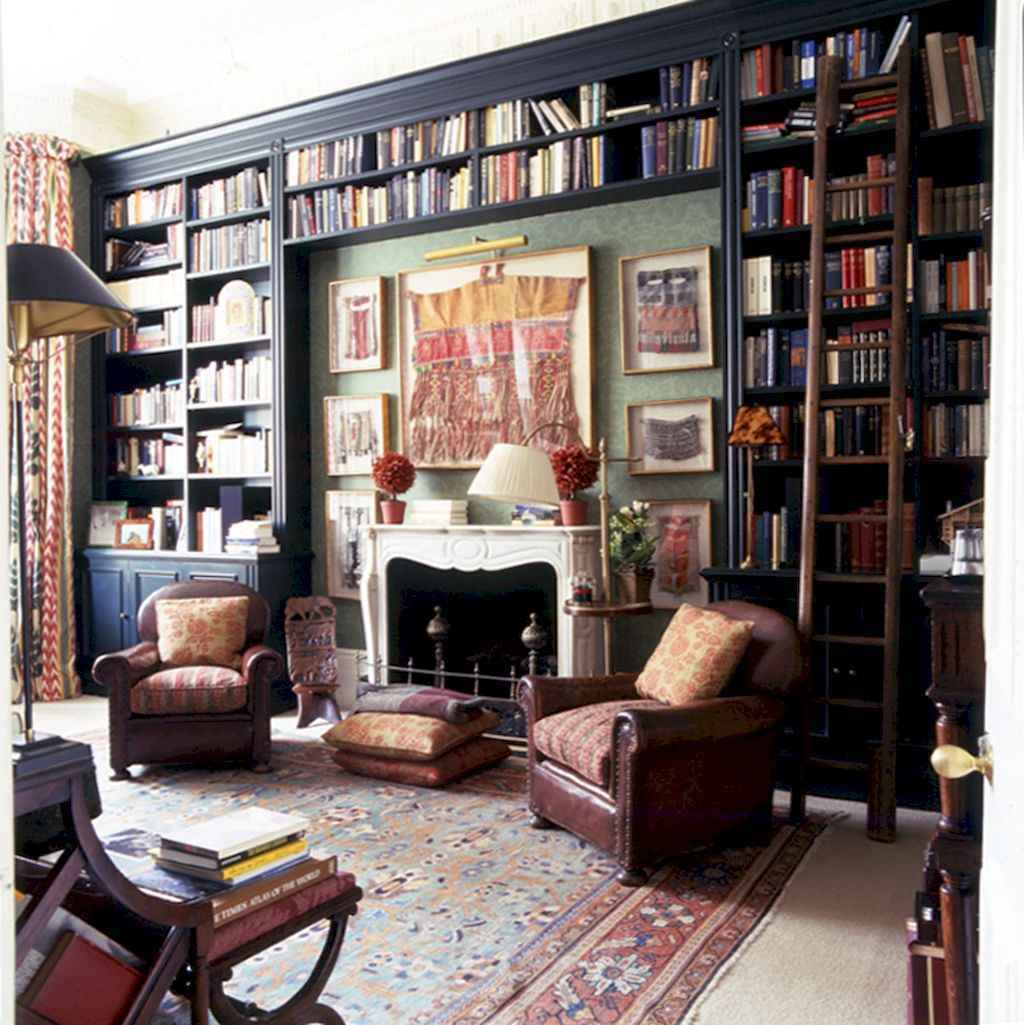 Cool home library design ideas (31)