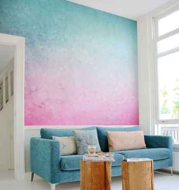 22 DIY Painted Ombre Wall For Apsrtment Decor Ideas (18)