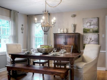 60 Rustic Farmhouse Dining Room Table Decor Ideas and Makeover (1)