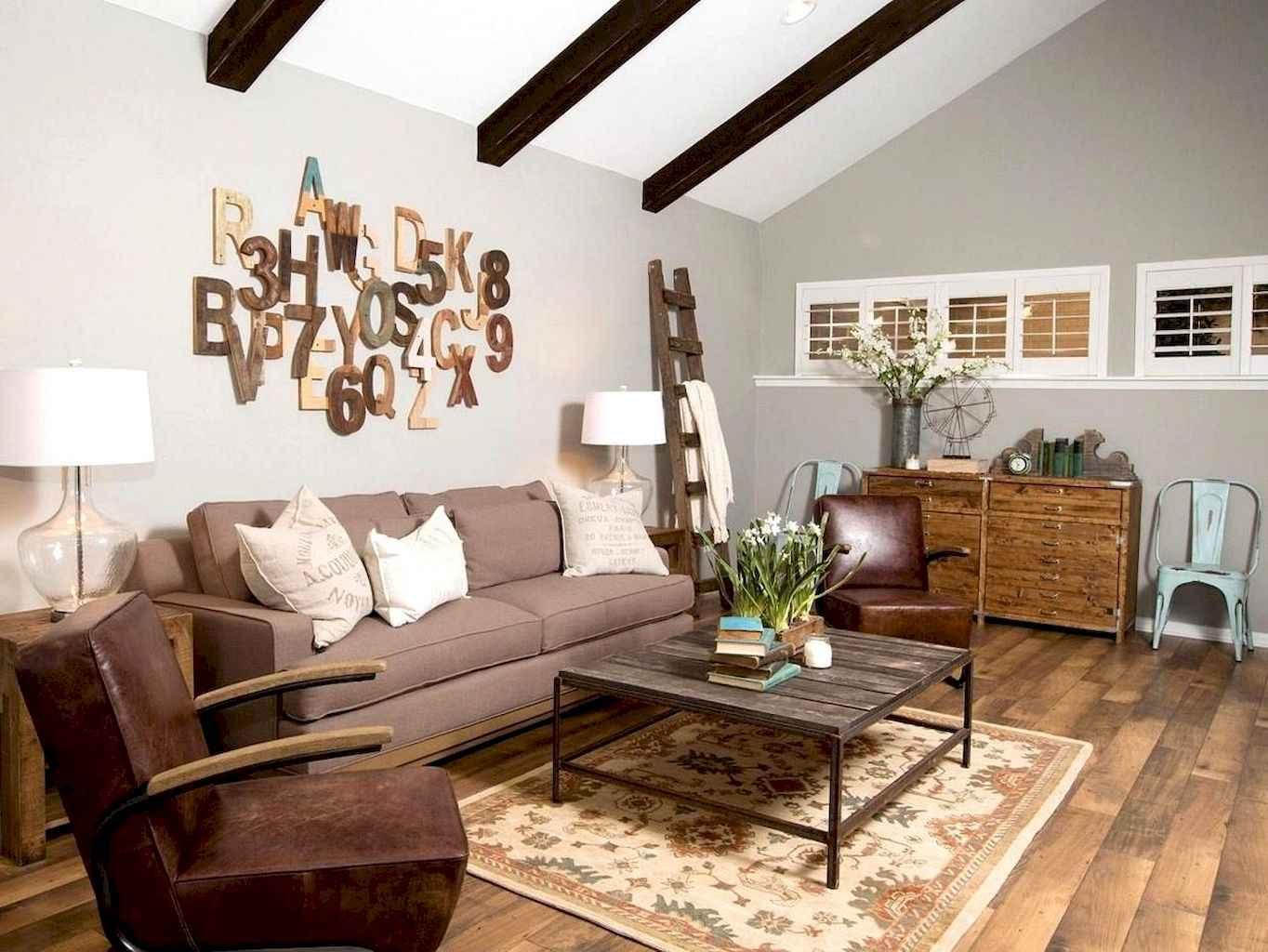 70 Rustic Farmhouse Living Room Decor Ideas (17)