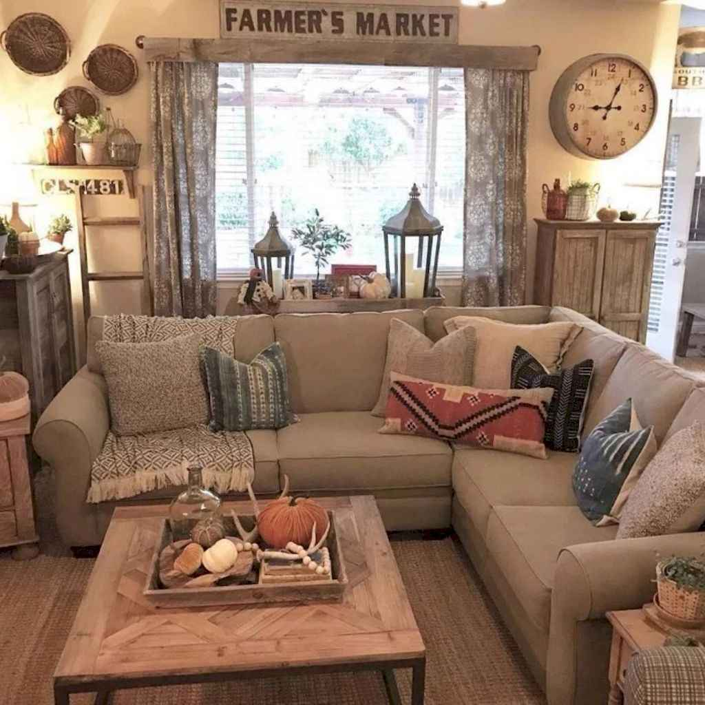 70 Rustic Farmhouse Living Room Decor Ideas (39)