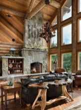 60 Awesome Log Cabin Homes Fireplace Design Ideas (14)