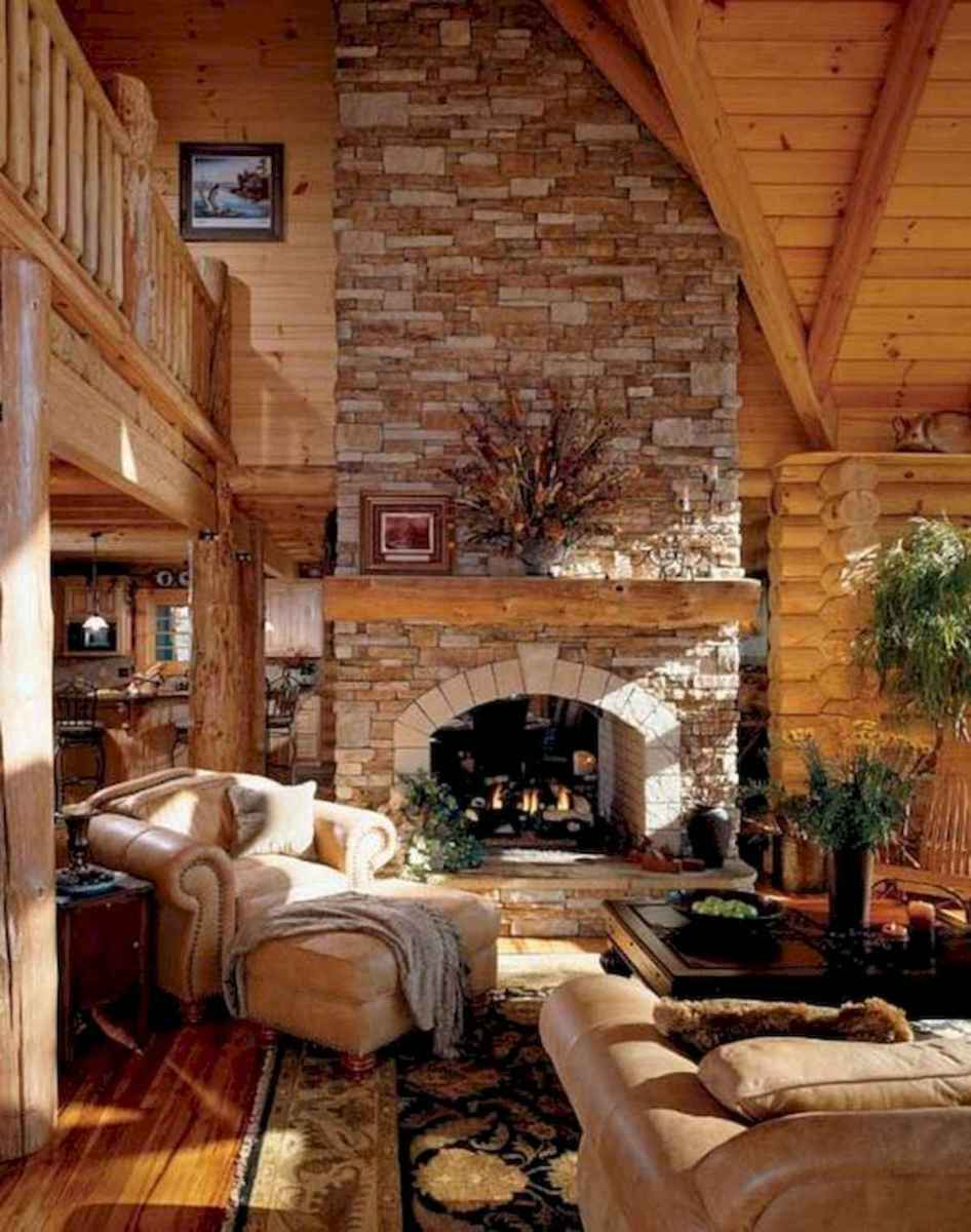 60 Awesome Log Cabin Homes Fireplace Design Ideas (24)