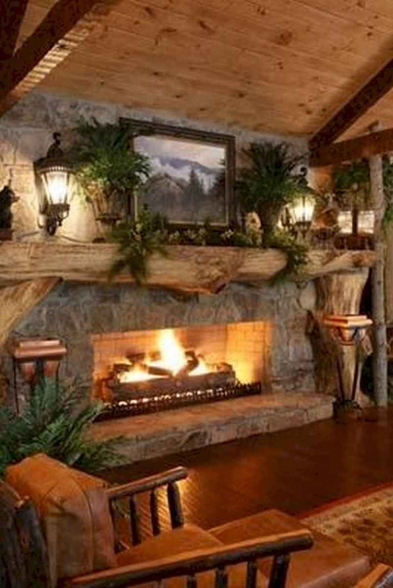 60 Awesome Log Cabin Homes Fireplace Design Ideas (26)
