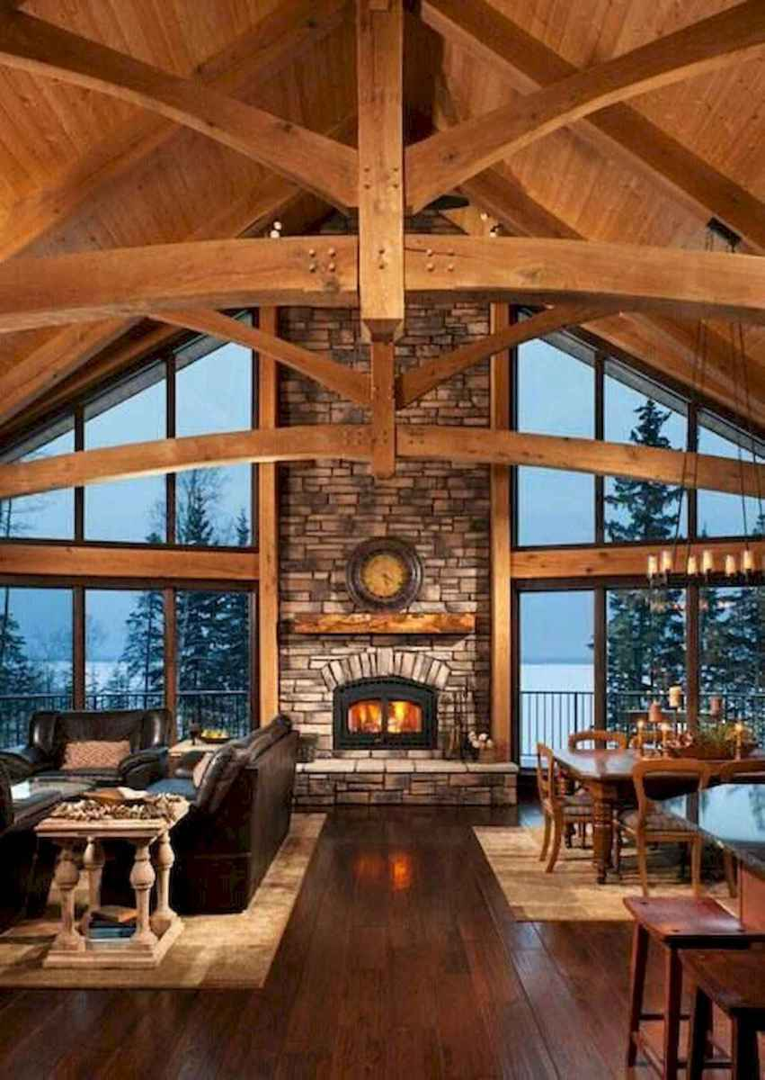 60 Awesome Log Cabin Homes Fireplace Design Ideas (3)
