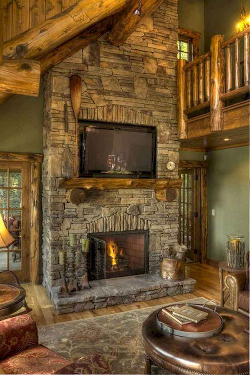 60 Awesome Log Cabin Homes Fireplace Design Ideas (30)