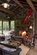 60 Awesome Log Cabin Homes Fireplace Design Ideas (37)